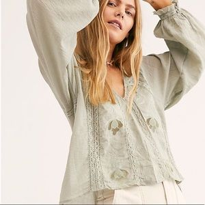Free People Sivan Embroidered Blouse